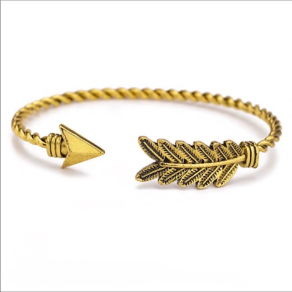 Jewelry - Gold Arrow Rustic Feather Bracelet